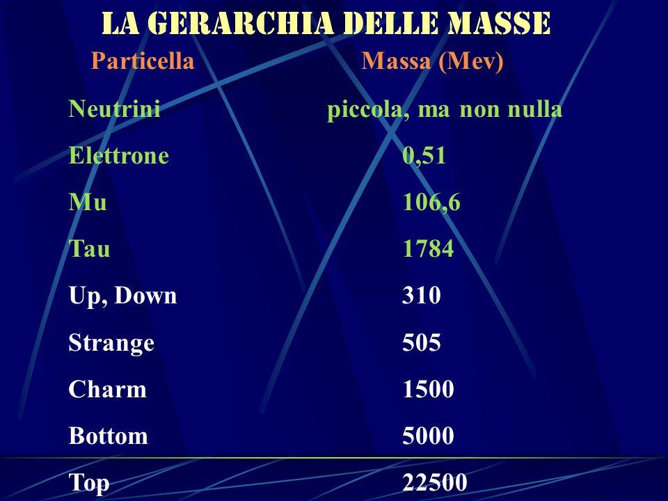 La gerarchia delle masse Particella Massa (Mev) Neutrini piccola, ma non nulla Elettrone0,51 Mu106,6 Tau1784 Up, Down310 Strange505 Charm1500 Bottom50