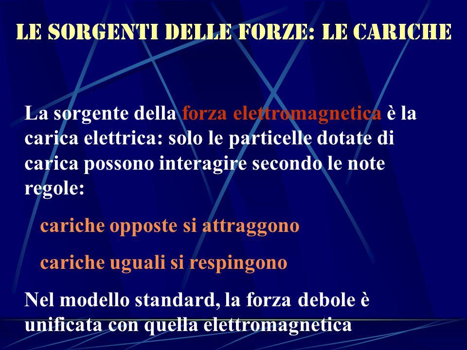 Le sorgenti delle forze: le cariche La sorgente della forza elettromagnetica è la carica elettrica: solo le particelle dotate di carica possono intera
