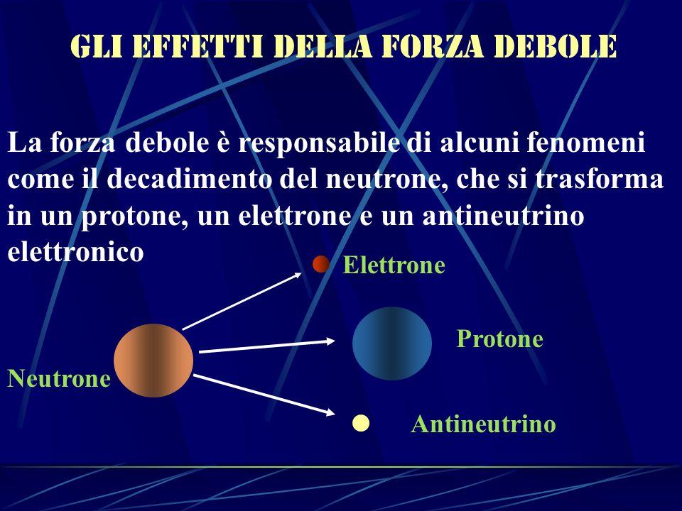 Gli effetti della forza debole La forza debole è responsabile di alcuni fenomeni come il decadimento del neutrone, che si trasforma in un protone, un