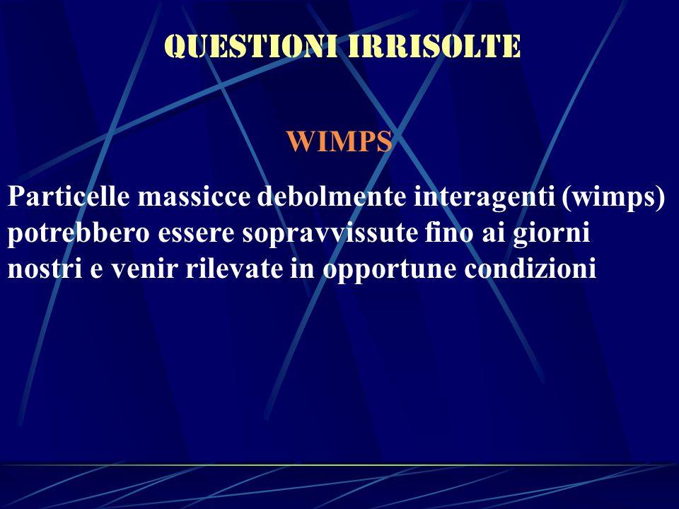 Questioni irrisolte WIMPS Particelle massicce debolmente interagenti (wimps) potrebbero essere sopravvissute fino ai giorni nostri e venir rilevate in