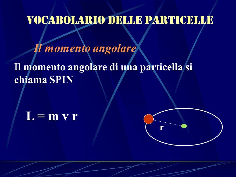Vocabolario delle particelle Il momento angolare l momento angolare di una particella si chiama SPIN L = m v r r