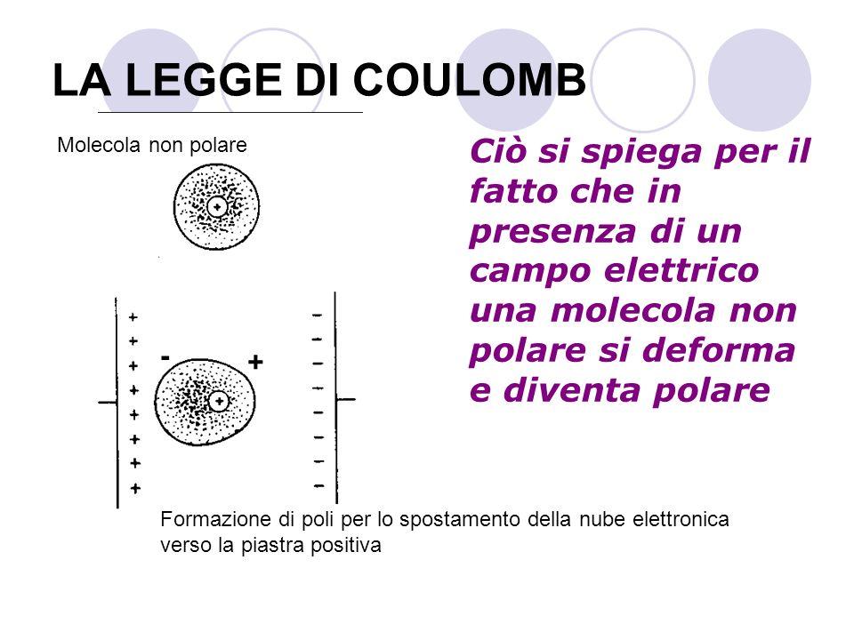 LA LEGGE DI COULOMB Ciò si spiega per il fatto che in presenza di un campo elettrico una molecola non polare si deforma e diventa polare Molecola non