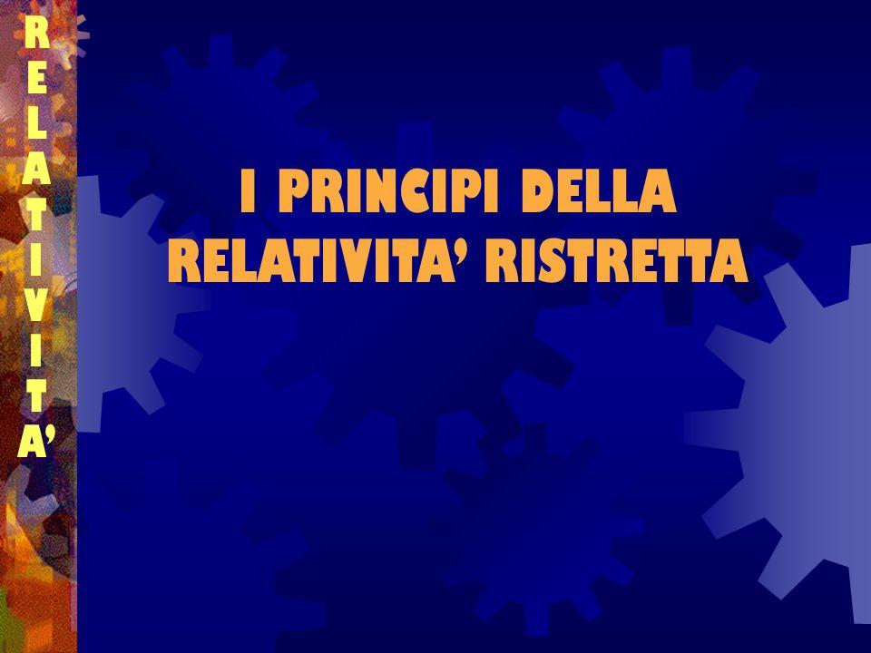 I PRINCIPI DELLA RELATIVITA RISTRETTA RELATIVITARELATIVITA