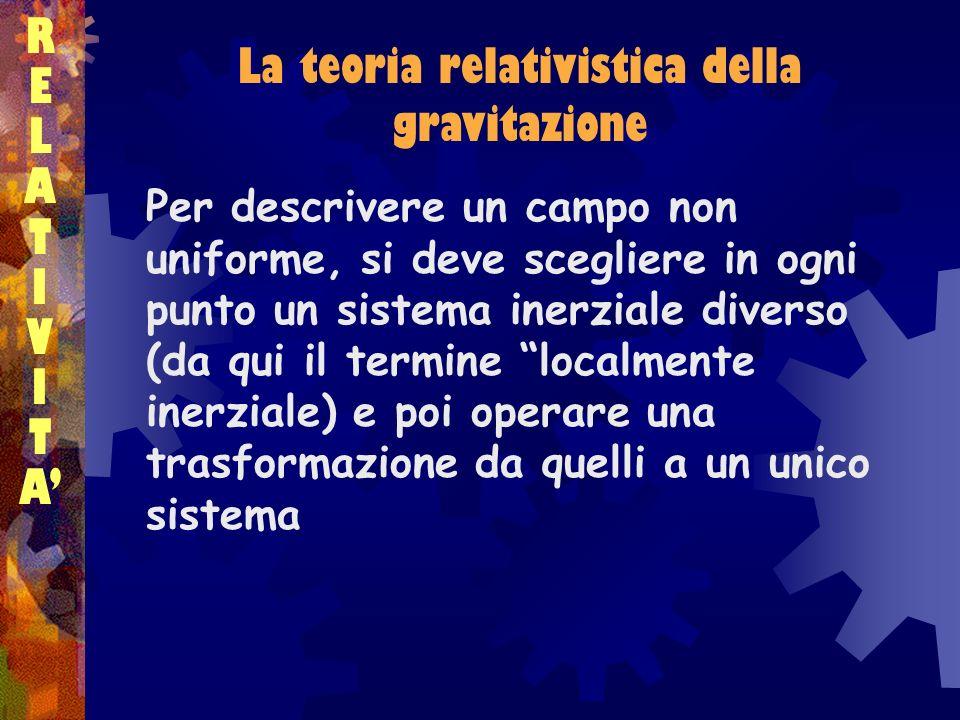 La teoria relativistica della gravitazione RELATIVITARELATIVITA La legge della gravitazione che ne deriva deve rispettare due condizioni Essere valida nella stessa forma in qualunque sistema di riferimento Ridursi, per velocità piccole rispetto a c, a quella di Newton