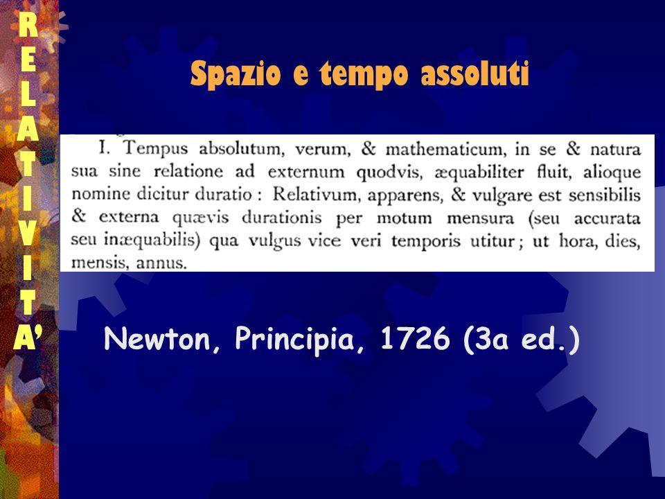 Spazio e tempo assoluti RELATIVITARELATIVITA Newton, Principia, 1726 (3a ed.)