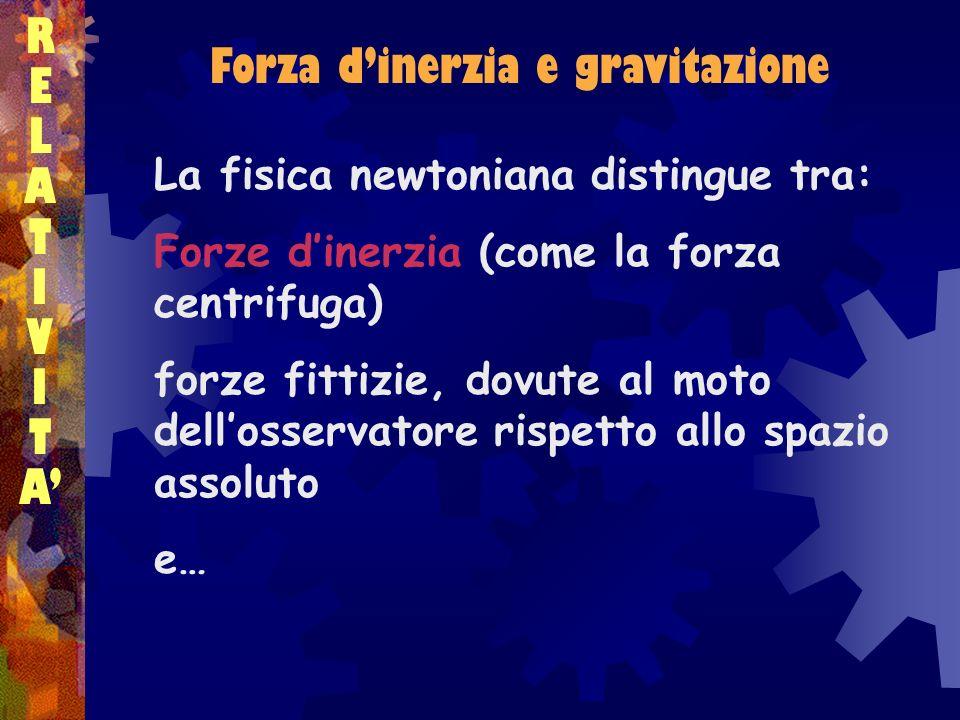 Forza dinerzia e gravitazione RELATIVITARELATIVITA La fisica newtoniana distingue tra: Forze dinerzia (come la forza centrifuga) forze fittizie, dovut
