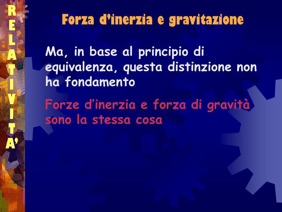 Forza dinerzia e gravitazione RELATIVITARELATIVITA Ma, in base al principio di equivalenza, questa distinzione non ha fondamento Forze dinerzia e forz
