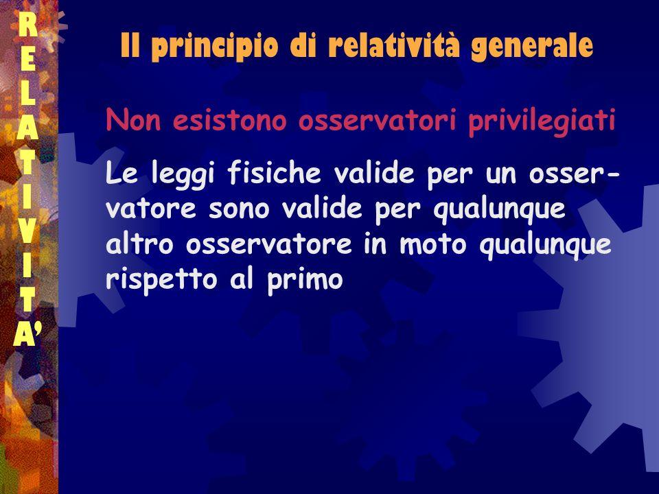 Il principio di relatività generale RELATIVITARELATIVITA Non esistono osservatori privilegiati Le leggi fisiche valide per un osser- vatore sono valid
