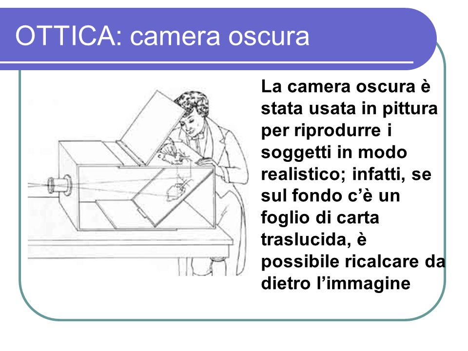 OTTICA: camera oscura La camera oscura è stata usata in pittura per riprodurre i soggetti in modo realistico; infatti, se sul fondo cè un foglio di ca