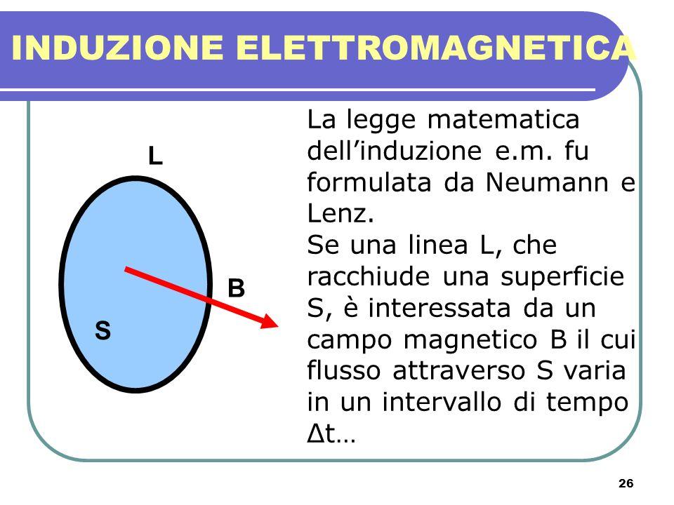 26 INDUZIONE ELETTROMAGNETICA La legge matematica dellinduzione e.m. fu formulata da Neumann e Lenz. Se una linea L, che racchiude una superficie S, è