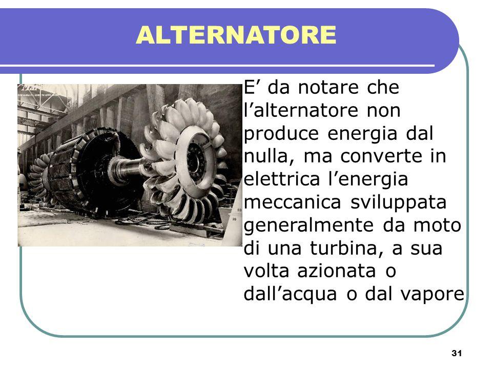 31 ALTERNATORE E da notare che lalternatore non produce energia dal nulla, ma converte in elettrica lenergia meccanica sviluppata generalmente da moto