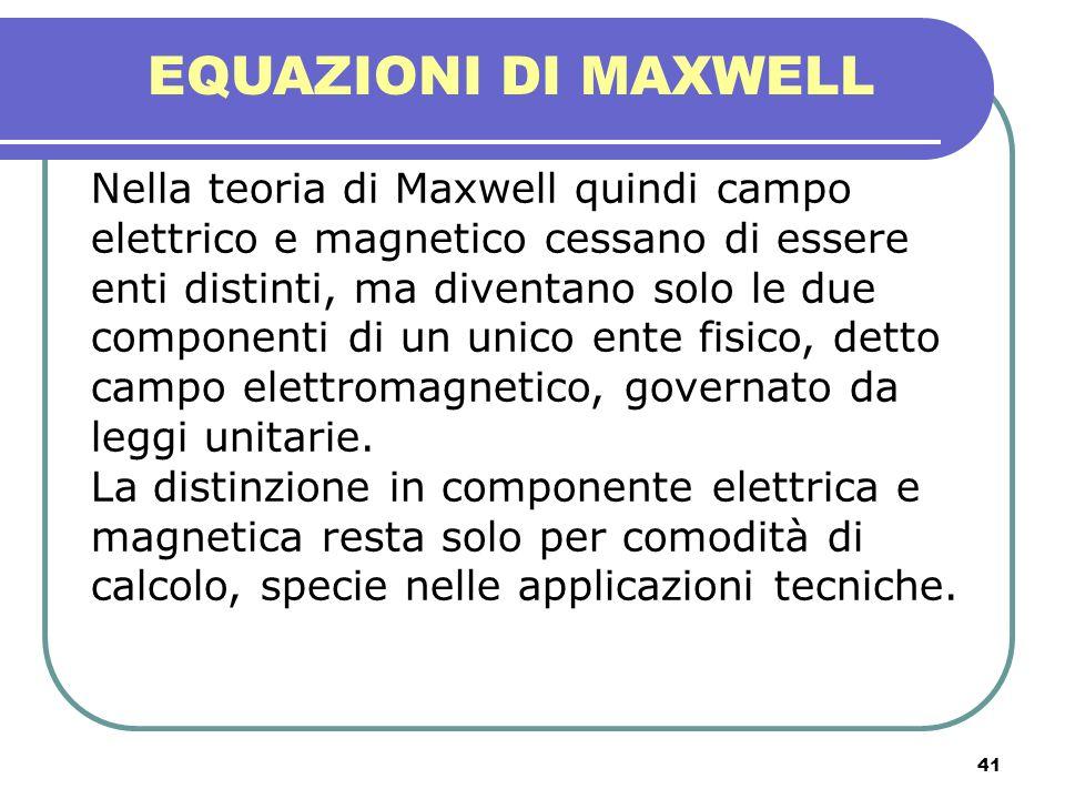 41 EQUAZIONI DI MAXWELL Nella teoria di Maxwell quindi campo elettrico e magnetico cessano di essere enti distinti, ma diventano solo le due component
