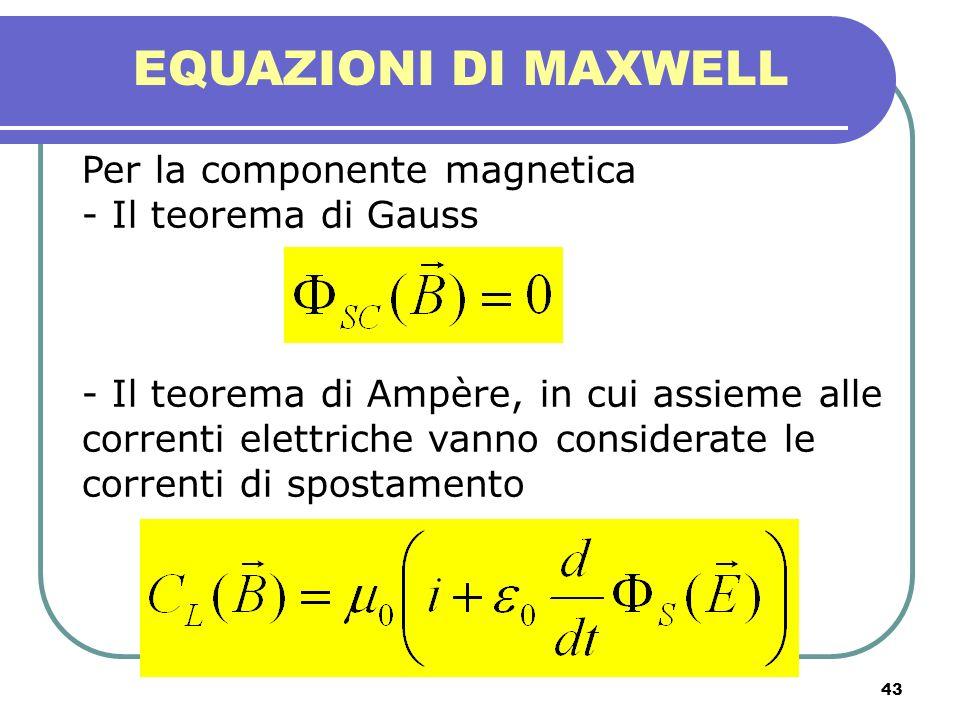 43 EQUAZIONI DI MAXWELL Per la componente magnetica - Il teorema di Gauss - Il teorema di Ampère, in cui assieme alle correnti elettriche vanno consid