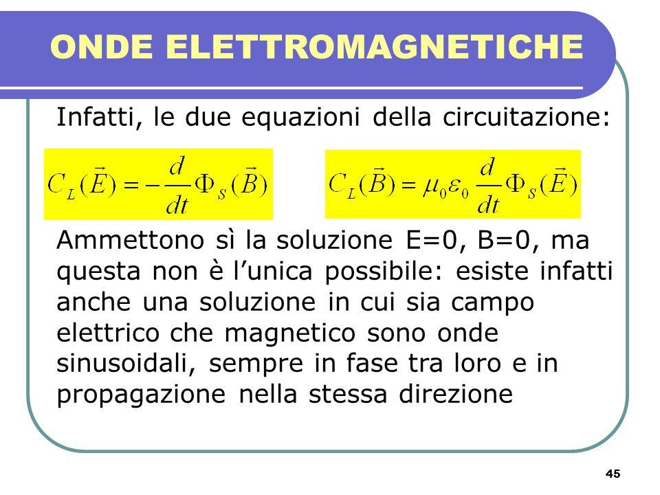 45 ONDE ELETTROMAGNETICHE Infatti, le due equazioni della circuitazione: Ammettono sì la soluzione E=0, B=0, ma questa non è lunica possibile: esiste