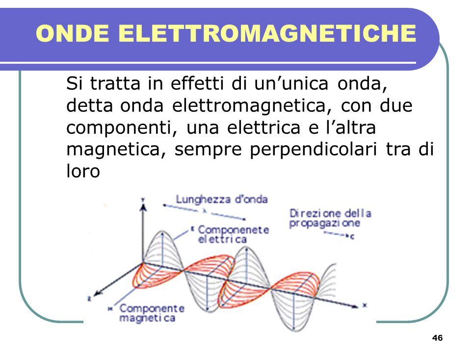 46 ONDE ELETTROMAGNETICHE Si tratta in effetti di ununica onda, detta onda elettromagnetica, con due componenti, una elettrica e laltra magnetica, sem