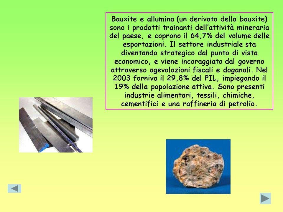 Bauxite e allumina (un derivato della bauxite) sono i prodotti trainanti dellattività mineraria del paese, e coprono il 64,7% del volume delle esporta