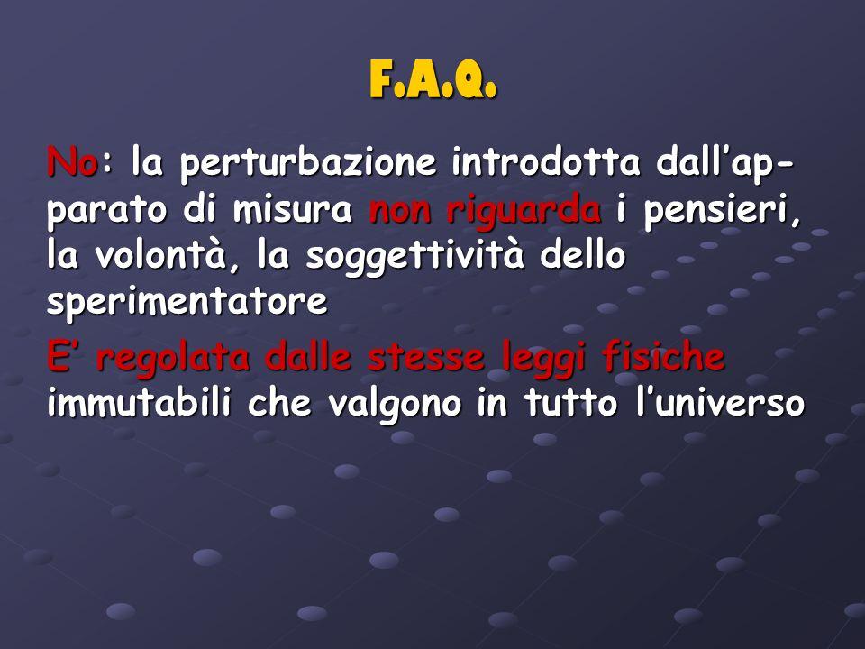 F.A.Q. No: la perturbazione introdotta dallap- parato di misura non riguarda i pensieri, la volontà, la soggettività dello sperimentatore E regolata d