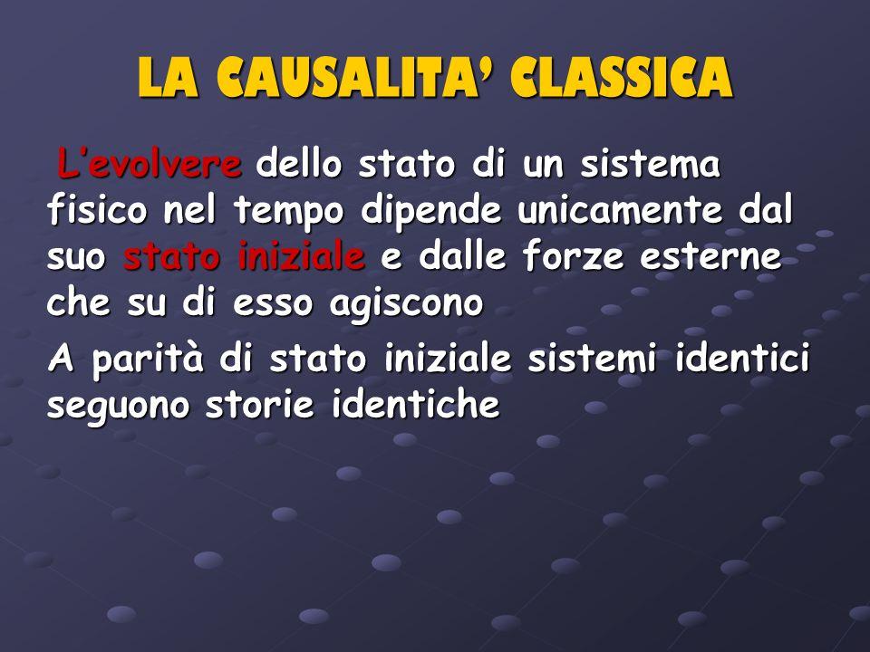 LA CAUSALITA CLASSICA Levolvere dello stato di un sistema fisico nel tempo dipende unicamente dal suo stato iniziale e dalle forze esterne che su di e