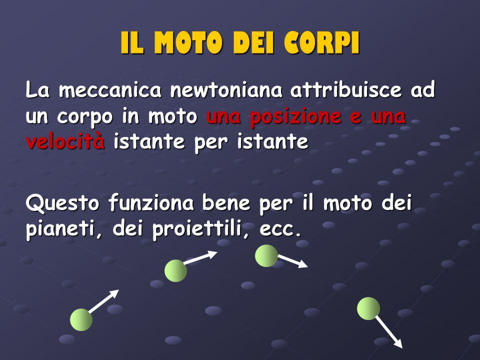 IL MOTO DEI CORPI La meccanica newtoniana attribuisce ad un corpo in moto una posizione e una velocità istante per istante Questo funziona bene per il