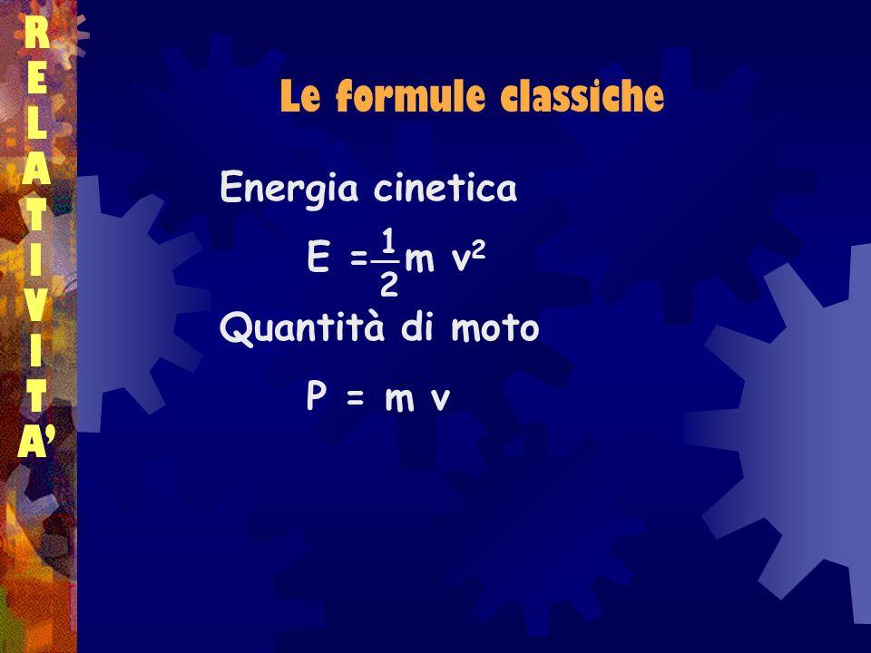RELATIVITARELATIVITA Le formule classiche Energia cinetica E = m v 2 Quantità di moto P = m v 1212