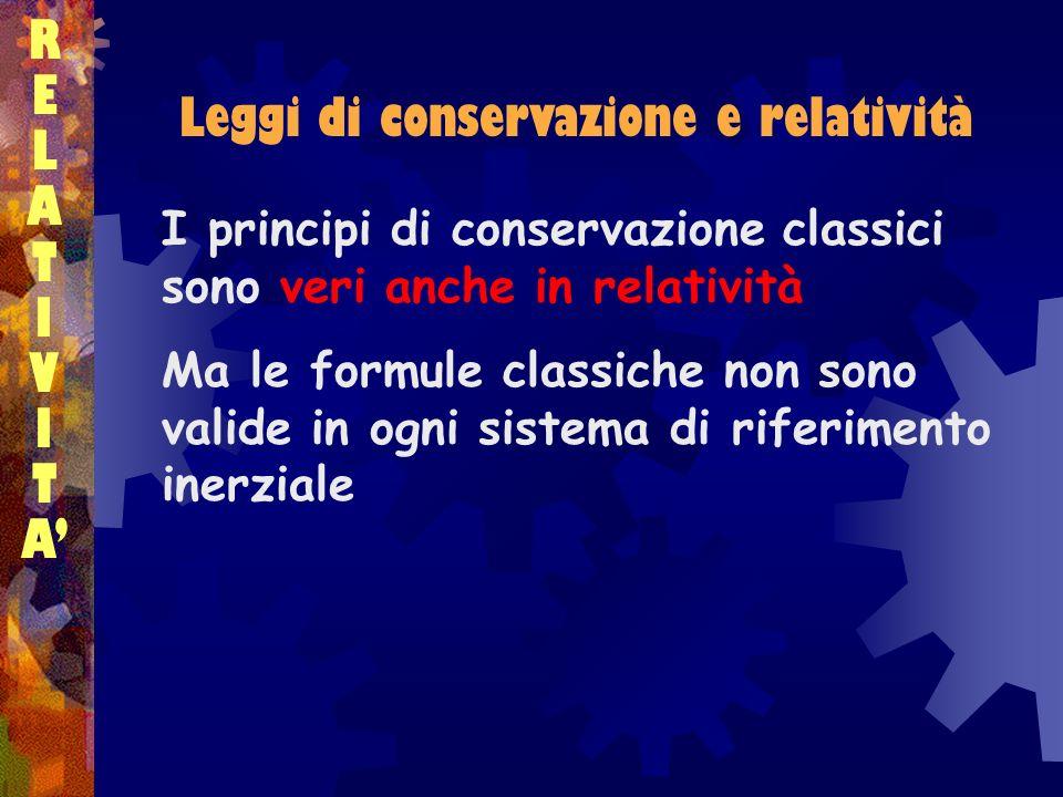 RELATIVITARELATIVITA Leggi di conservazione e relatività I principi di conservazione classici sono veri anche in relatività Ma le formule classiche non sono valide in ogni sistema di riferimento inerziale
