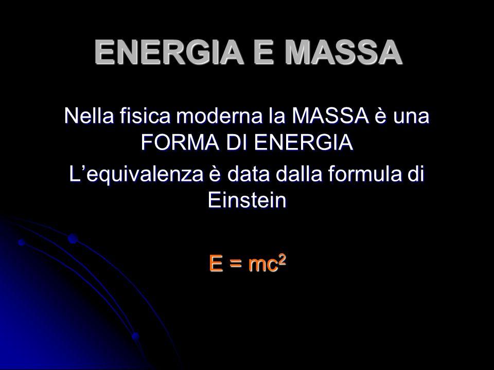 ENERGIA E MASSA Nella fisica moderna la MASSA è una FORMA DI ENERGIA Lequivalenza è data dalla formula di Einstein E = mc 2