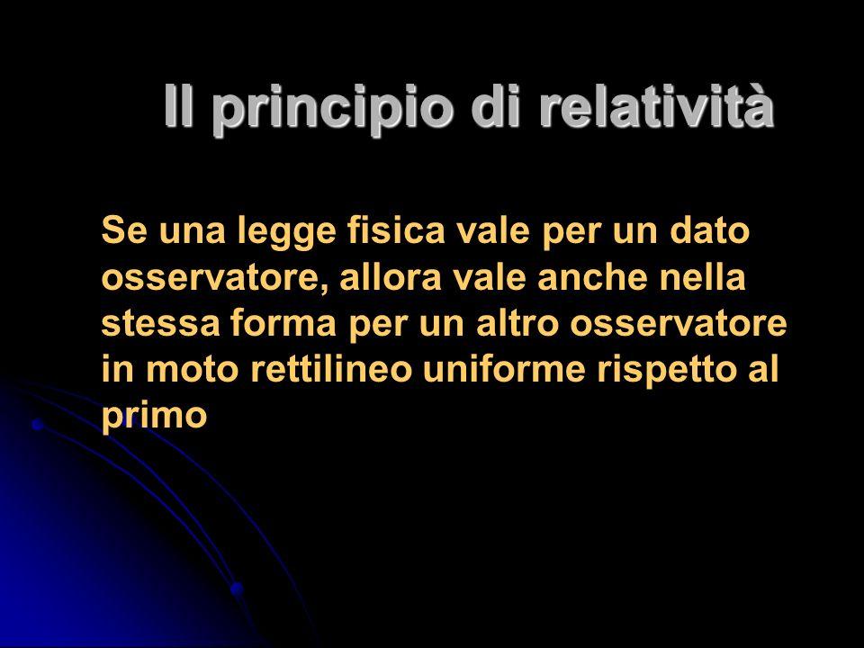 Il principio di relatività Se una legge fisica vale per un dato osservatore, allora vale anche nella stessa forma per un altro osservatore in moto rettilineo uniforme rispetto al primo
