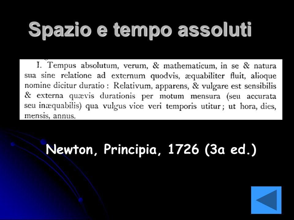 Spazio e tempo assoluti Newton, Principia, 1726 (3a ed.)