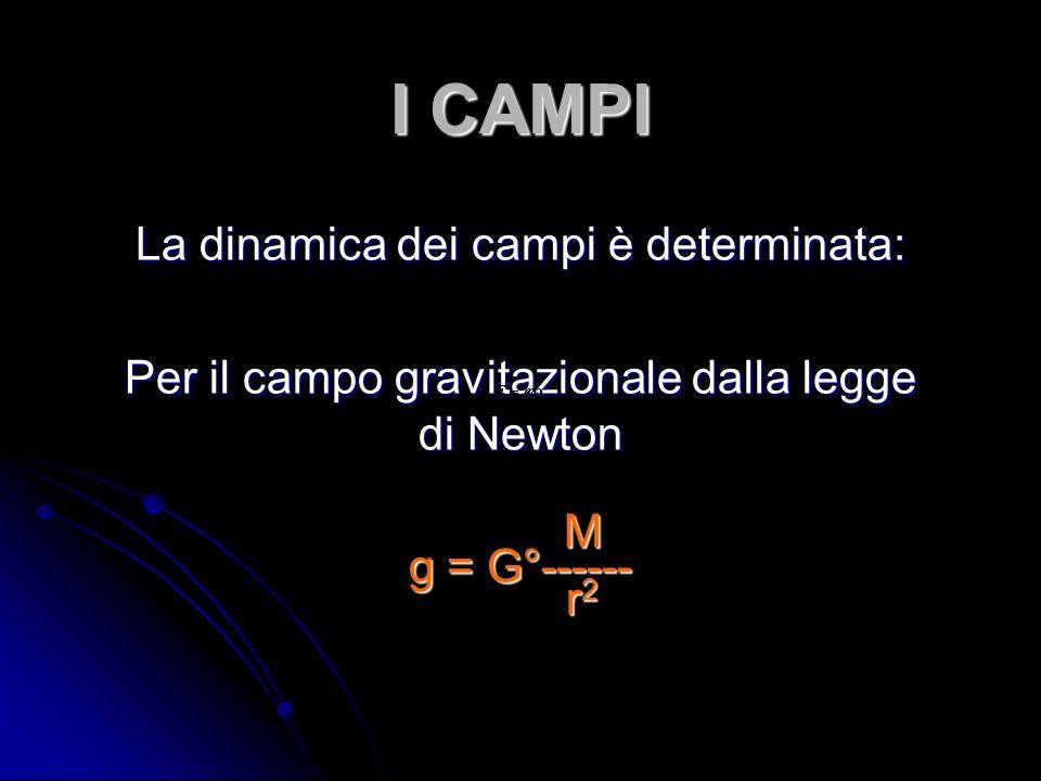 I CAMPI La dinamica dei campi è determinata: Per il campo gravitazionale dalla legge di Newton g = G°------ M MMr2r2MMr2r2