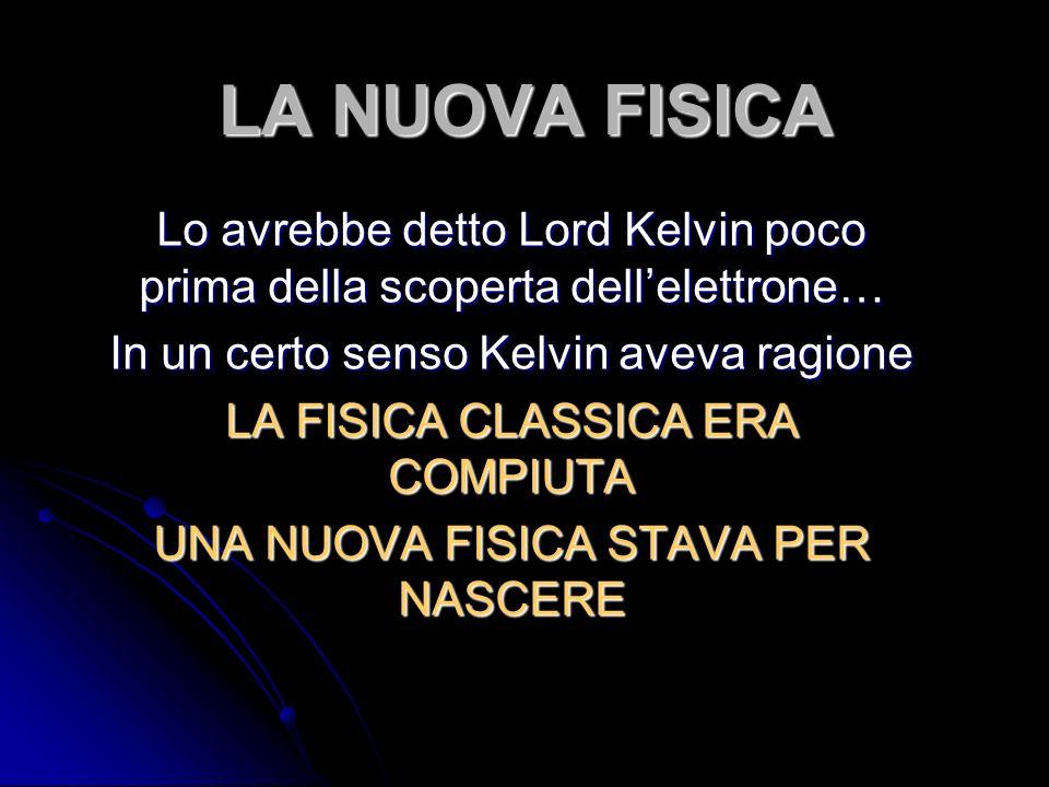 LA NUOVA FISICA Lo avrebbe detto Lord Kelvin poco prima della scoperta dellelettrone… In un certo senso Kelvin aveva ragione LA FISICA CLASSICA ERA COMPIUTA UNA NUOVA FISICA STAVA PER NASCERE