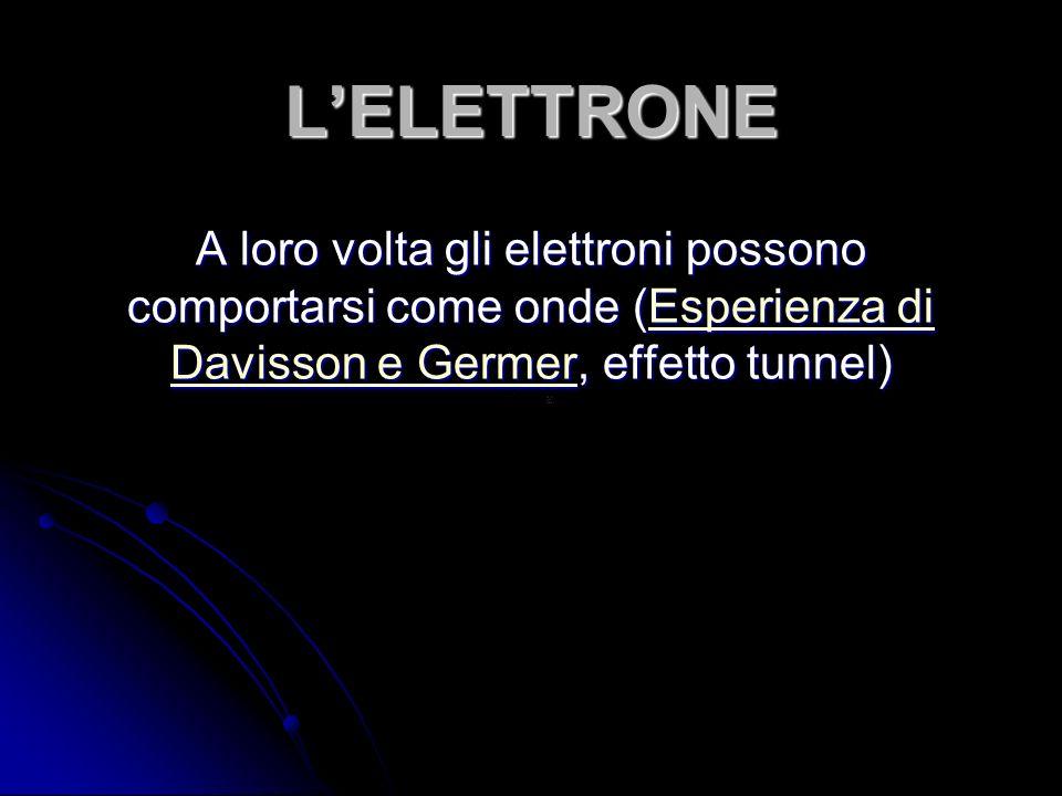 LELETTRONE A loro volta gli elettroni possono comportarsi come onde (Esperienza di Davisson e Germer, effetto tunnel) Esperienza di Davisson e GermerEsperienza di Davisson e Germer