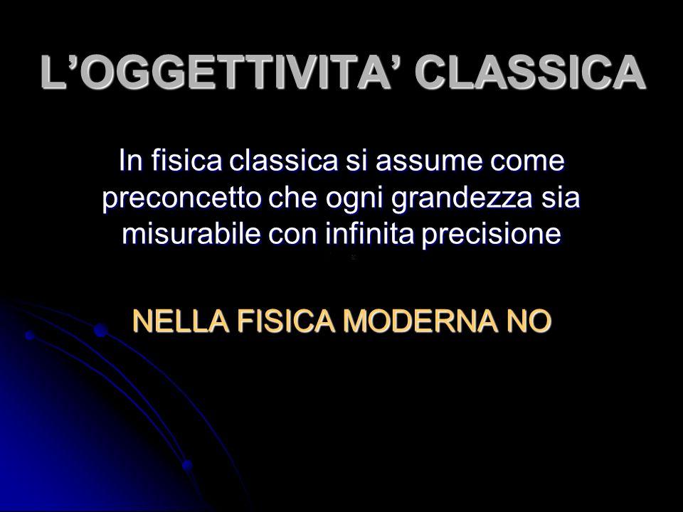 LOGGETTIVITA CLASSICA In fisica classica si assume come preconcetto che ogni grandezza sia misurabile con infinita precisione NELLA FISICA MODERNA NO