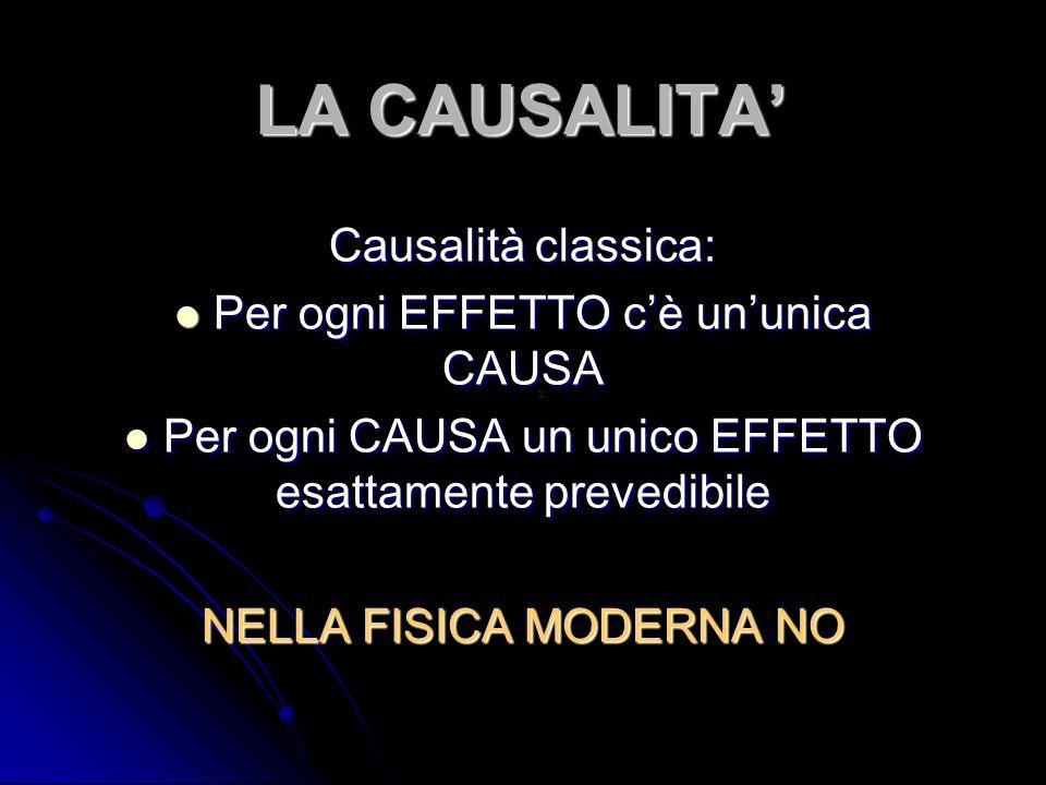 LA CAUSALITA Causalità classica: Per ogni EFFETTO cè ununica CAUSA Per ogni EFFETTO cè ununica CAUSA Per ogni CAUSA un unico EFFETTO esattamente preve