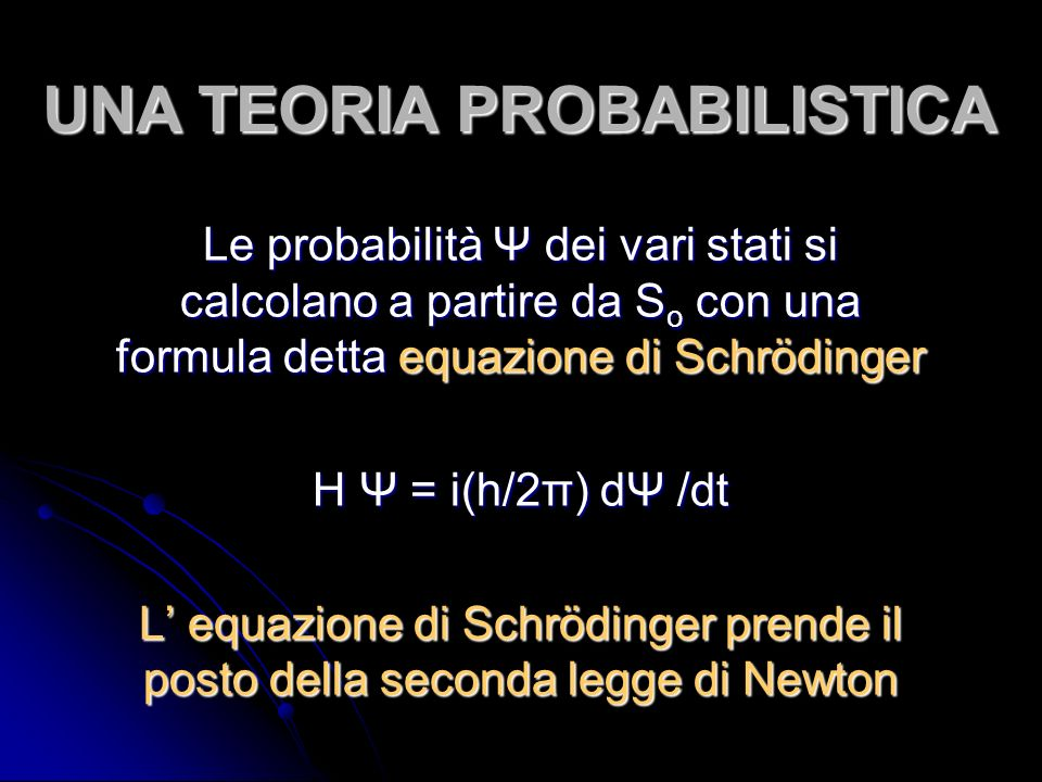 UNA TEORIA PROBABILISTICA Le probabilità Ψ dei vari stati si calcolano a partire da S o con una formula detta equazione di Schrödinger H Ψ = i(h/2π) dΨ /dt L equazione di Schrödinger prende il posto della seconda legge di Newton