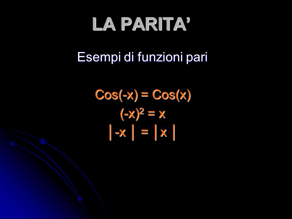 LA PARITA Esempi di funzioni pari Cos(-x) = Cos(x) (-x) 2 = x -x = x -x = x