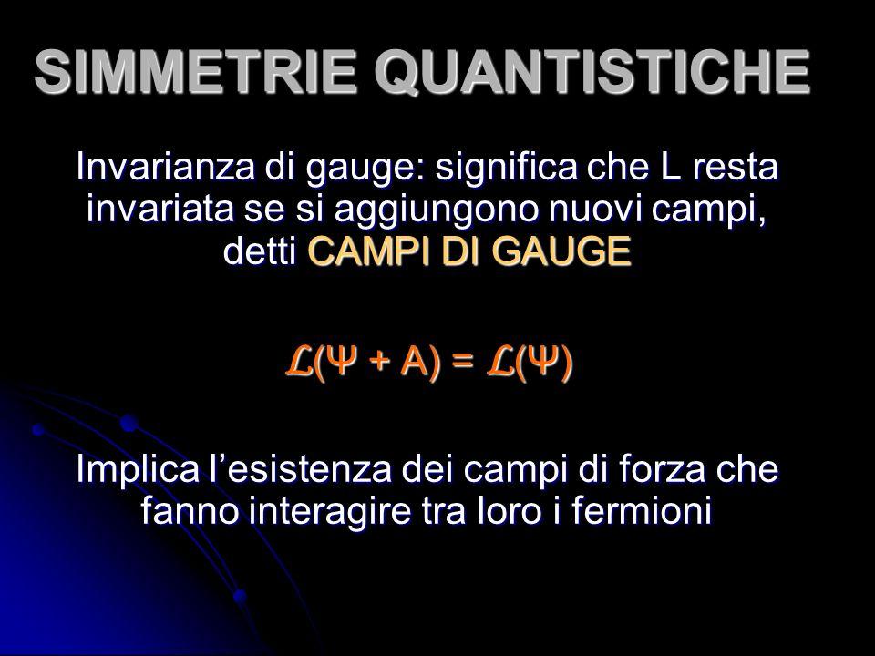 SIMMETRIE QUANTISTICHE Invarianza di gauge: significa che L resta invariata se si aggiungono nuovi campi, detti CAMPI DI GAUGE L (Ψ + A) = L (Ψ) Implica lesistenza dei campi di forza che fanno interagire tra loro i fermioni