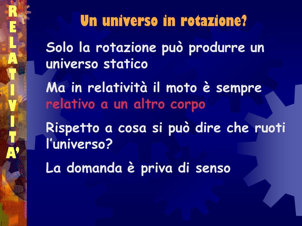 RELATIVITARELATIVITA Solo la rotazione può produrre un universo statico Ma in relatività il moto è sempre relativo a un altro corpo Rispetto a cosa si