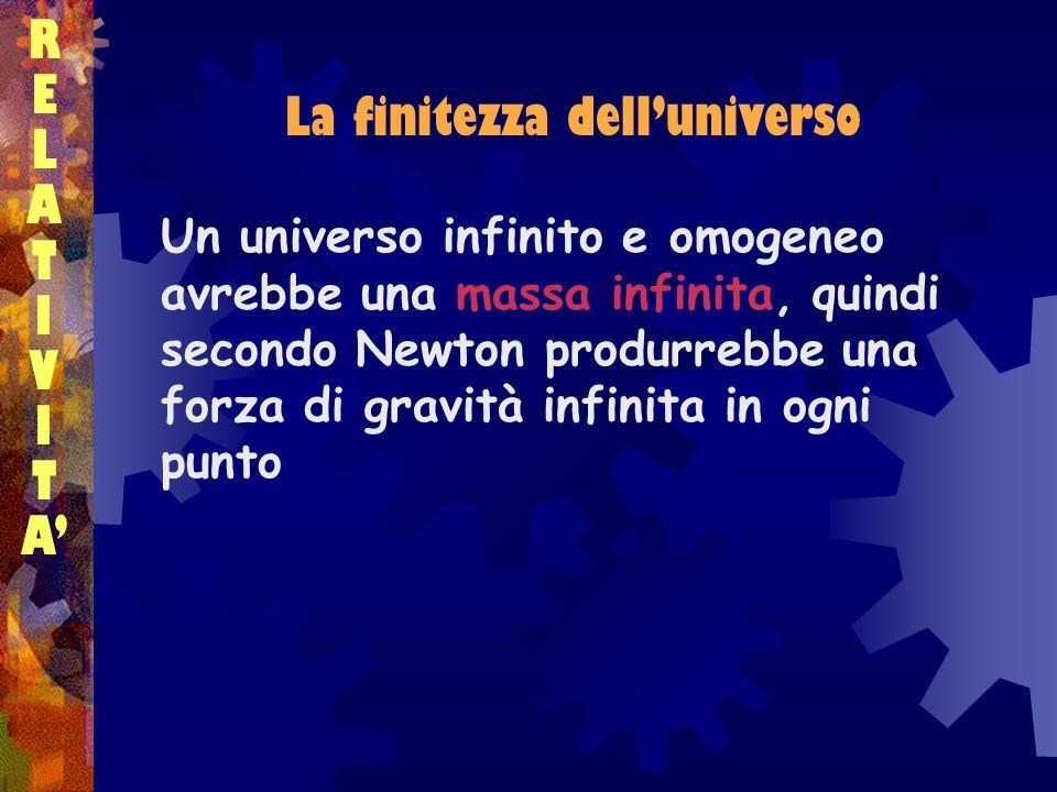 RELATIVITARELATIVITA Un universo infinito e omogeneo avrebbe una massa infinita, quindi secondo Newton produrrebbe una forza di gravità infinita in og