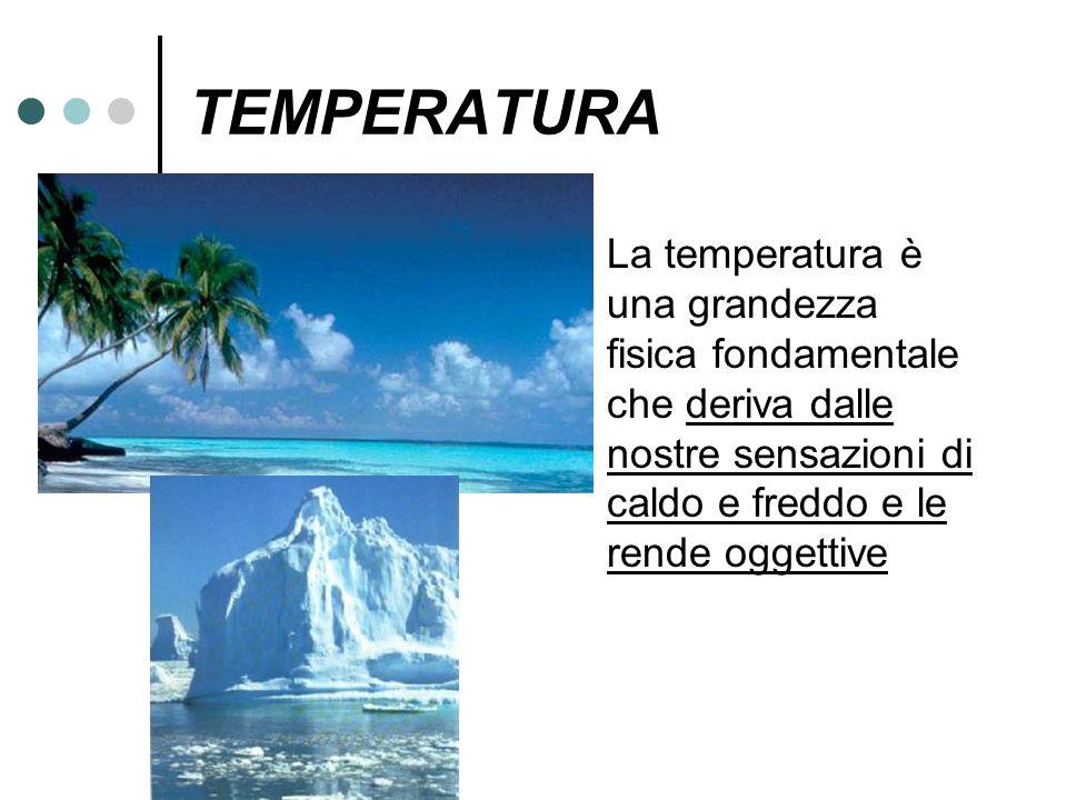 TEMPERATURA La temperatura è una grandezza fisica fondamentale che deriva dalle nostre sensazioni di caldo e freddo e le rende oggettive