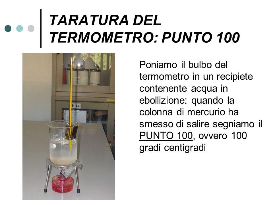 TARATURA DEL TERMOMETRO: PUNTO 100 Poniamo il bulbo del termometro in un recipiete contenente acqua in ebollizione: quando la colonna di mercurio ha s