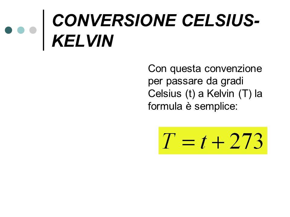 CONVERSIONE CELSIUS- KELVIN Con questa convenzione per passare da gradi Celsius (t) a Kelvin (T) la formula è semplice: