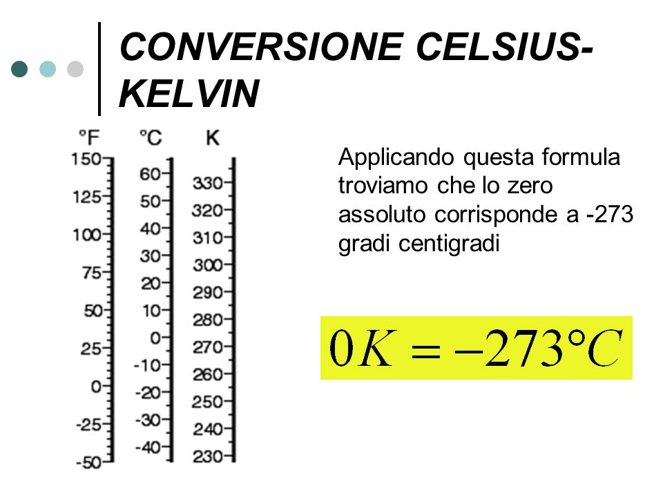 CONVERSIONE CELSIUS- KELVIN Applicando questa formula troviamo che lo zero assoluto corrisponde a -273 gradi centigradi