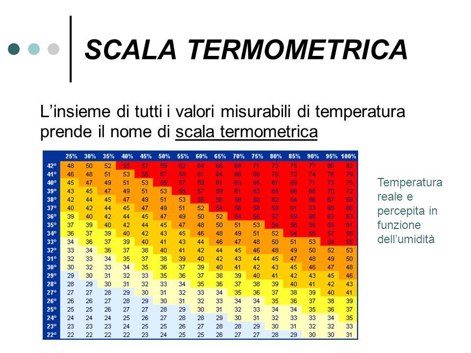 SCALA TERMOMETRICA Linsieme di tutti i valori misurabili di temperatura prende il nome di scala termometrica Temperatura reale e percepita in funzione