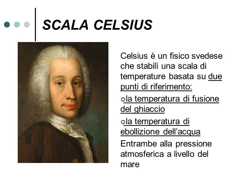 SCALA CELSIUS Celsius è un fisico svedese che stabilì una scala di temperature basata su due punti di riferimento: la temperatura di fusione del ghiac