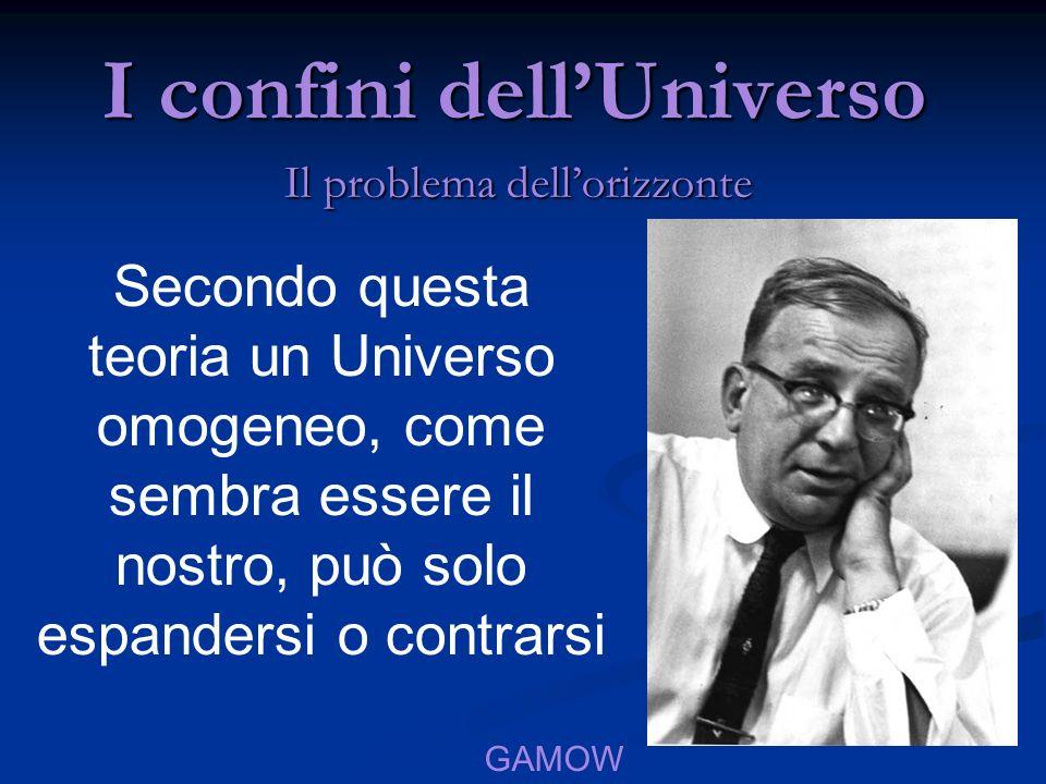 I confini dellUniverso Il problema dellorizzonte Secondo questa teoria un Universo omogeneo, come sembra essere il nostro, può solo espandersi o contr
