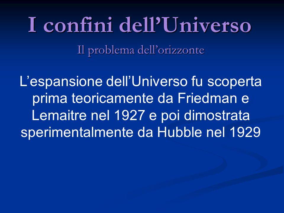 I confini dellUniverso Il problema dellorizzonte Lespansione dellUniverso fu scoperta prima teoricamente da Friedman e Lemaitre nel 1927 e poi dimostr