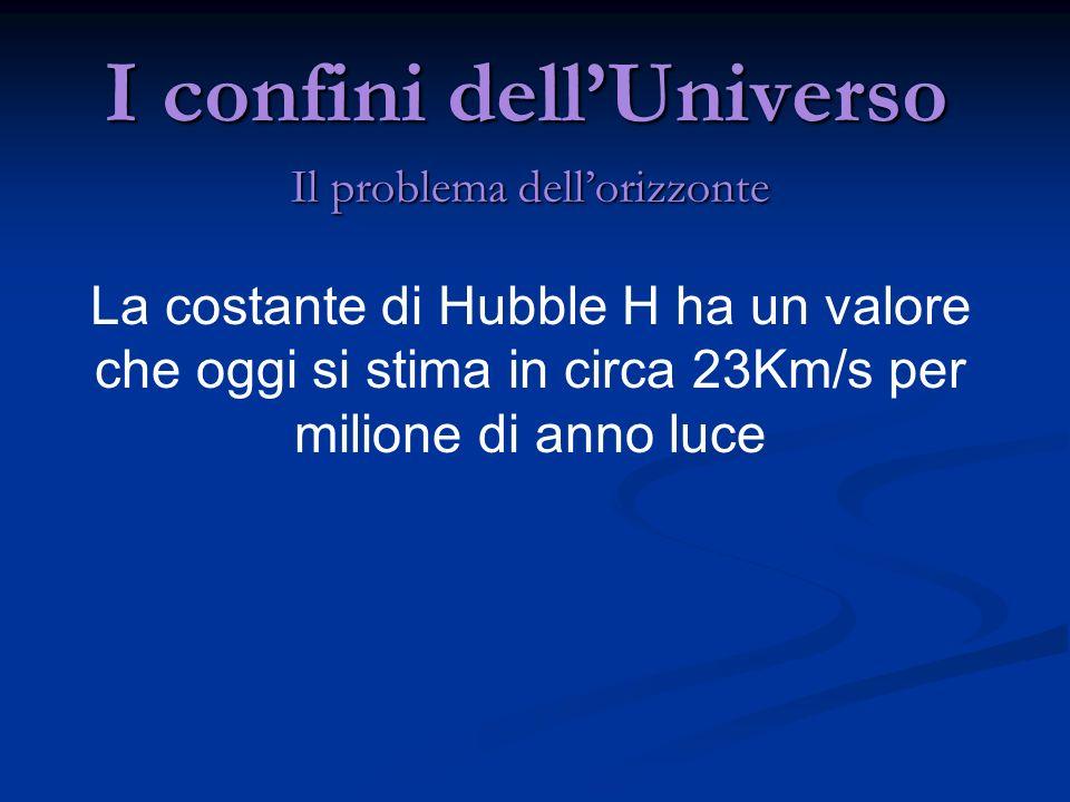 I confini dellUniverso Il problema dellorizzonte La costante di Hubble H ha un valore che oggi si stima in circa 23Km/s per milione di anno luce