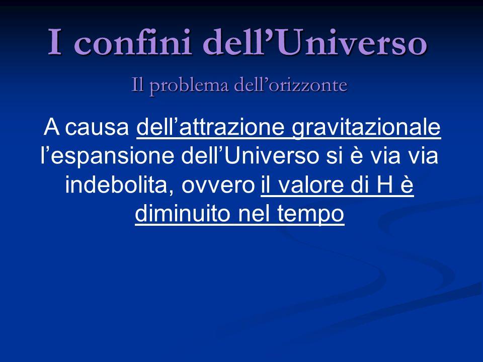 I confini dellUniverso Il problema dellorizzonte A causa dellattrazione gravitazionale lespansione dellUniverso si è via via indebolita, ovvero il val