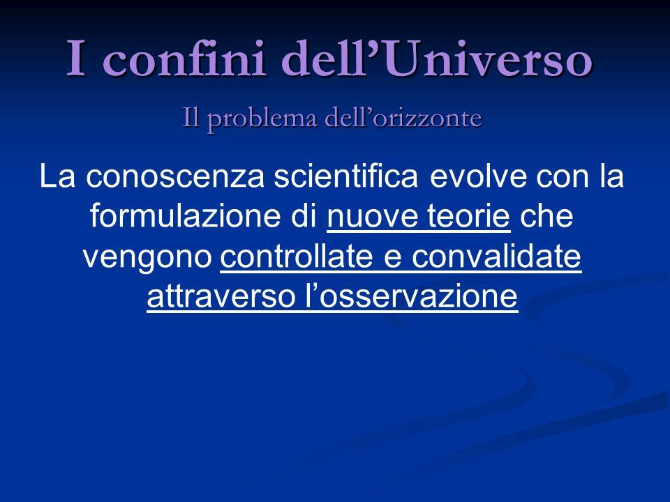 I confini dellUniverso Il problema dellorizzonte La conoscenza scientifica evolve con la formulazione di nuove teorie che vengono controllate e conval