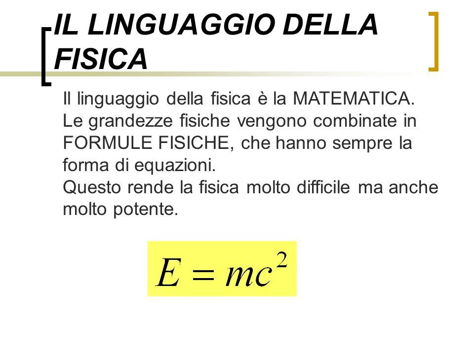 IL LINGUAGGIO DELLA FISICA Il linguaggio della fisica è la MATEMATICA. Le grandezze fisiche vengono combinate in FORMULE FISICHE, che hanno sempre la